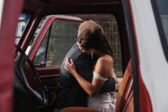 Bride Groom Wedding Embrace Truck