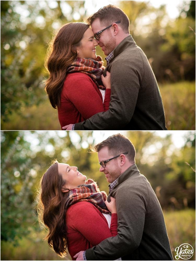Autumn Leaves Engagement Session Couple Laughing Omaha, NE cb Yates Photo
